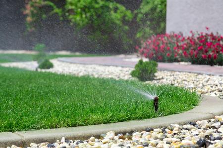 自動スプリンクラーの草に水をまく 写真素材 - 29468809