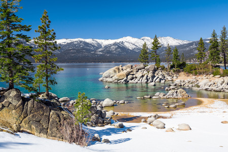 lake beach: Lake Tahoe Stock Photo