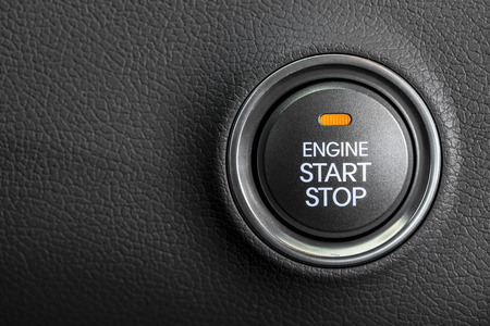 electric car: Engine start button Stock Photo