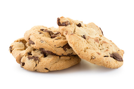 Chocolate chip cookies isolated on white background. 스톡 콘텐츠