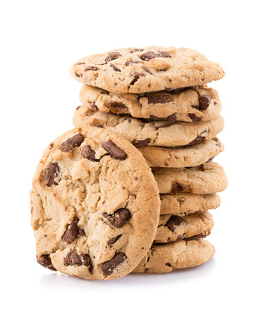 stack: Chocolate chip cookies isolated on white background. Stock Photo