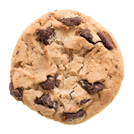chocolate sweet: Chocolate chip cookie isolated on white background