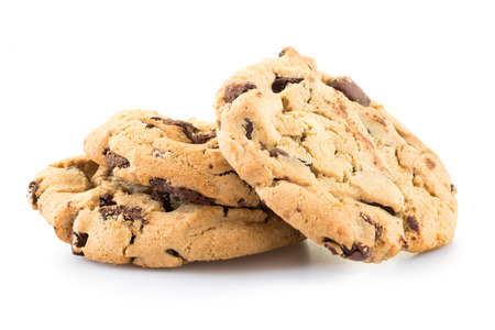 Chocolate chip cookies isolated on white background. 版權商用圖片
