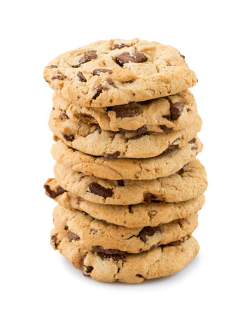 chocolate chips: Chocolate chip cookies isolated on white background. Stock Photo