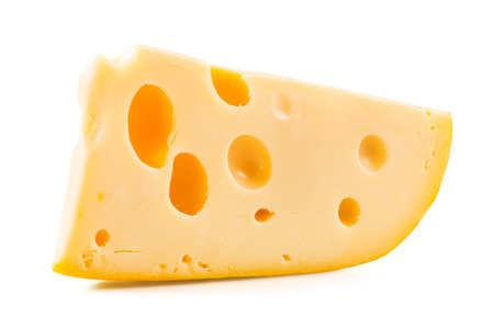 slice: Cheese over white background