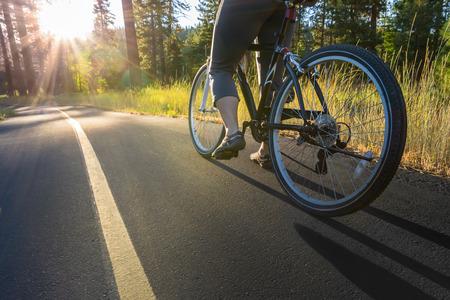 road bike: Biker at sunset