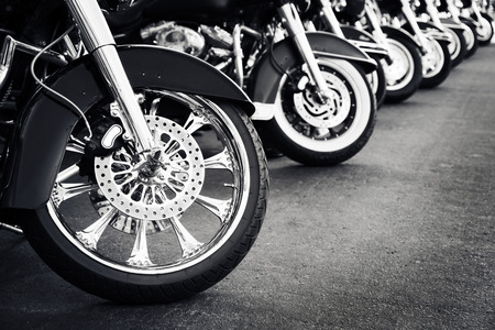 row: Motorcycles in a row