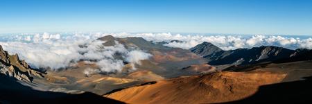 maui: Panoramic view of Haleakala crater, Maui Hawaii Stock Photo