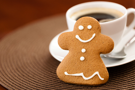 gingerbread cookie: Gingerbread cookie with cup of coffee Stock Photo