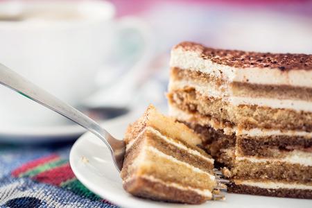 homemade: Tiramisu cake with cup of coffee Stock Photo