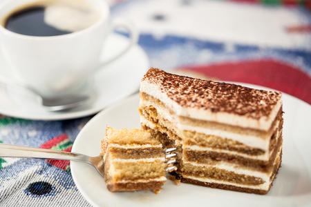 cake plate: Tiramisu cake with cup of coffee Stock Photo