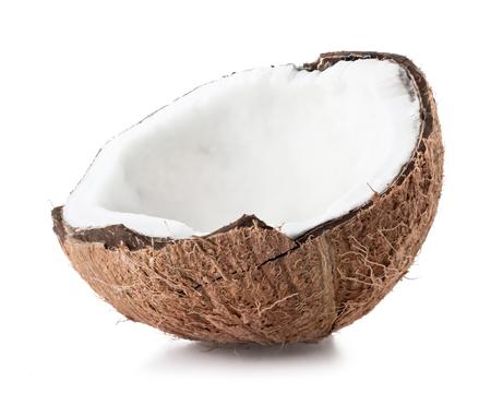 coco: La mitad de coco aislado en el fondo blanco Foto de archivo