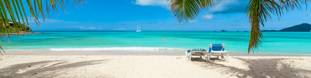 beach panorama: Tropical beach paradise