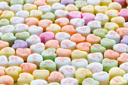 hearts background: Heart shaped candies for Valentines Day