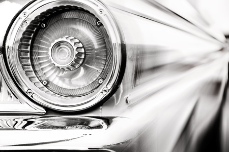 antique car: Photograph of classic car with close-up on taillights