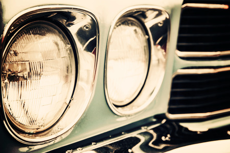 Classic car with close-up on headlights Stockfoto