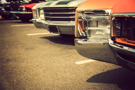 car glass: Classic cars in a row Stock Photo