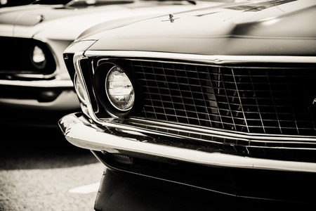old vintage: Classic cars in a row Stock Photo