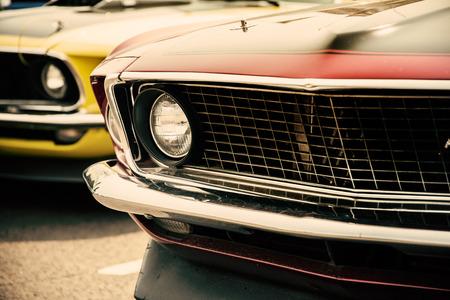 Klassieke auto's in een rij Stockfoto