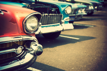old technology: Classic cars in a row Stock Photo