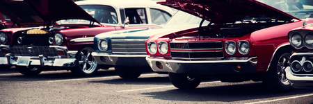 Classic cars in a row 版權商用圖片