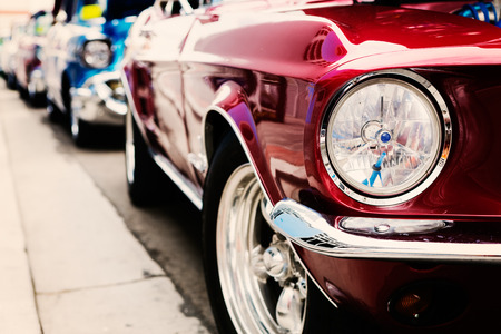 Classic cars in a row 스톡 콘텐츠