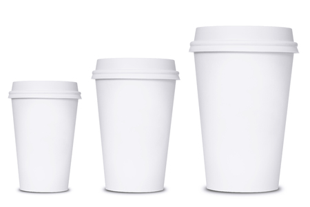 to go cup: Coffee cup sizes isolated on white background