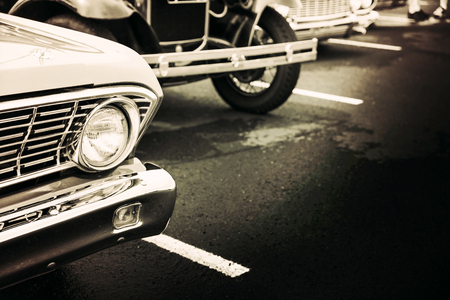 black car: Classic cars in a row Stock Photo