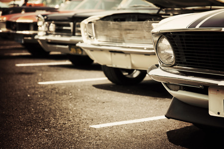 collectors: Classic cars in a row Stock Photo