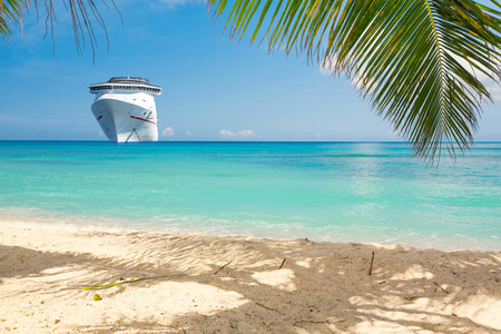caribbean beach: Cruise ship tropical beach