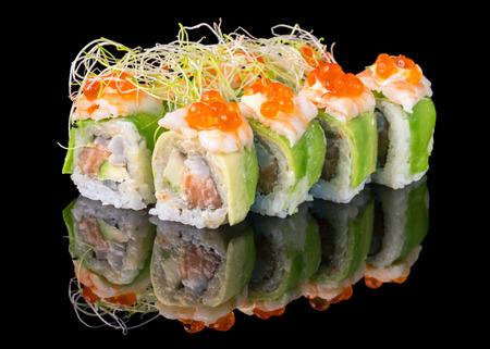 black fish: Sushi isolated on black Stock Photo