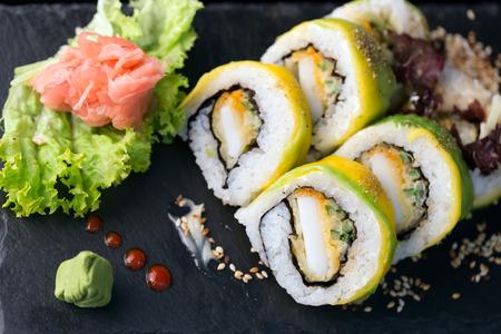 sushi set: Sushi set over black background Stock Photo