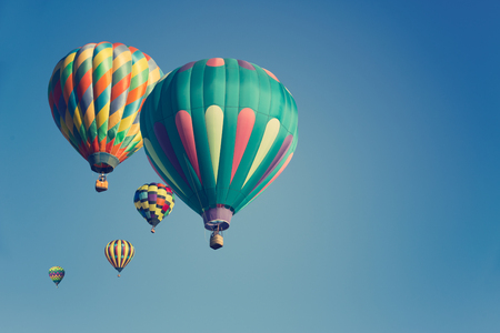Multi colored hot air balloons 免版税图像