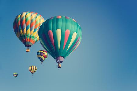 Multi colored hot air balloons Standard-Bild