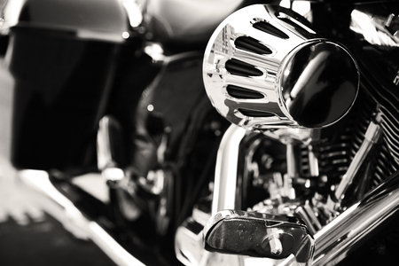 Motorcycle with chrome ports close-up 스톡 콘텐츠