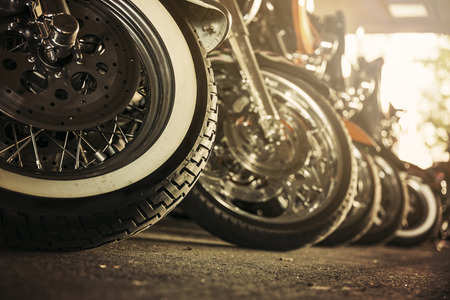 Motorcycles parked in a row