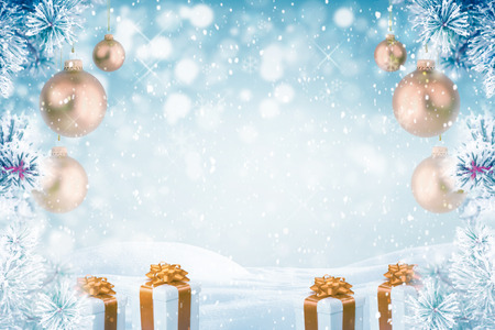 Christmas background with golden ornaments and gift boxes falling snow