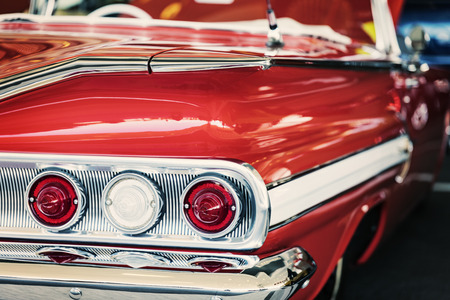 Classic car with close-up on tail lights Stock Photo
