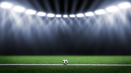 Tradition soccer ball illuminated by stadium lights