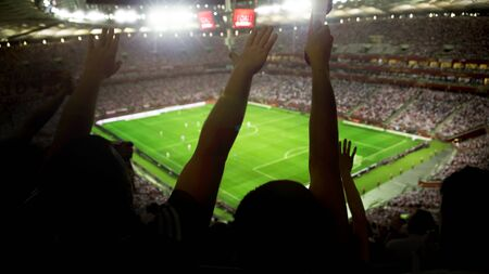 Soccer stadium full of fans cheering after goal