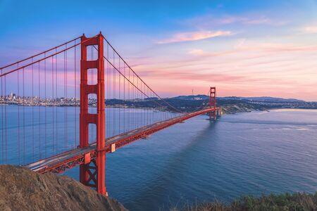Golden Gate Bridge on sunset sky, San Francisco California