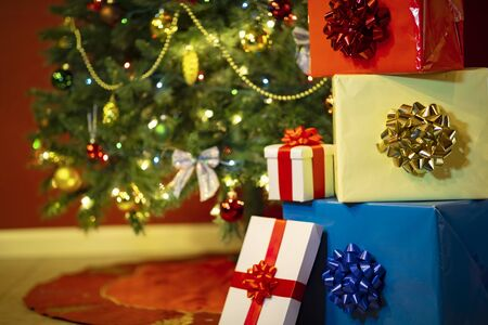 Christmas  with gift boxes and lights