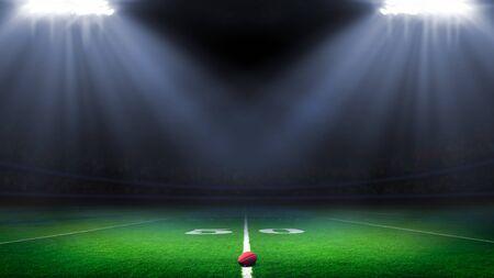 American-Football-Stadion mit hellen Lichtern