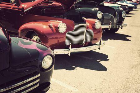 old cars street display