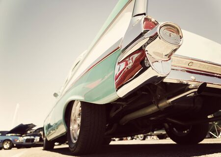 Classic american car in vintage color, low angle photograph