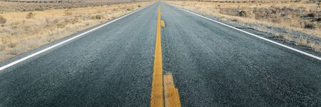Long straight road through desert, empty street leading into horizon, two lanes asphalt route