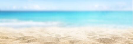 Sunny tropical beach, summer holidays vacation, Caribbean beach with turquoise water background