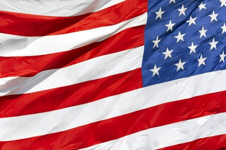 American flag waving in the wind, US flag motion close-up Reklamní fotografie
