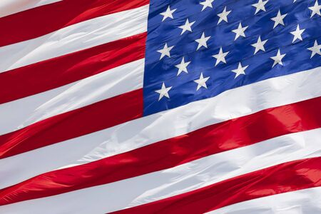 American flag waving in the wind close-up Reklamní fotografie