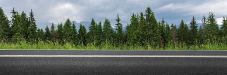 Empty road through forest, mountain asphalt street panorama Reklamní fotografie - 148634995